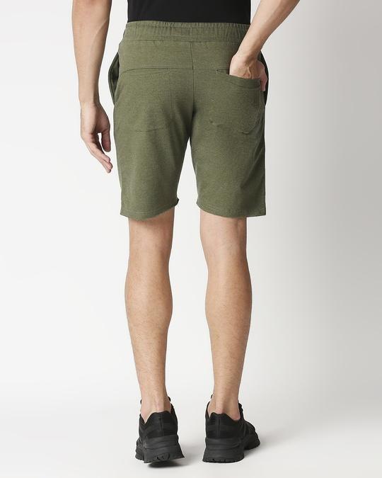 Shop Olive Melange Men Shorts-Full