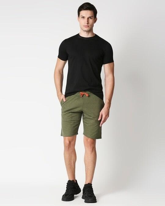 Shop Olive Melange Men Shorts