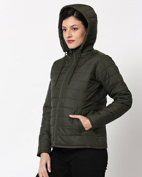 Shop Olive Plain Puffer Jacket with Detachable Hood-Design