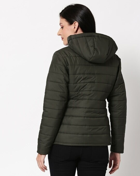 Shop Olive Plain Puffer Jacket with Detachable Hood-Full