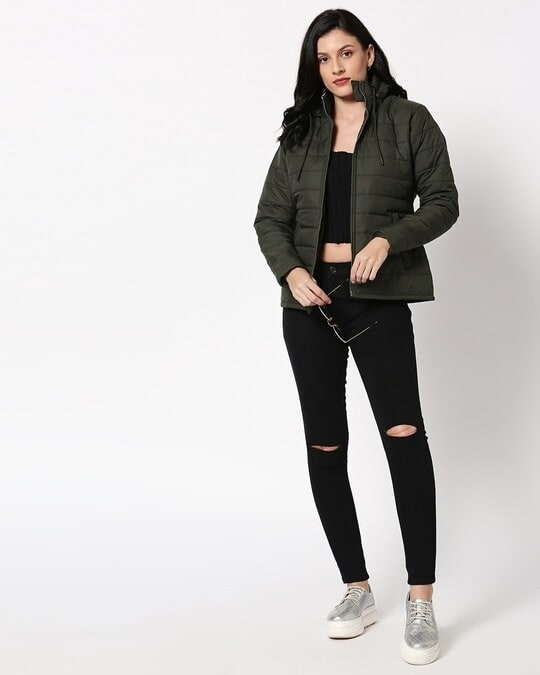 Shop Olive Plain Puffer Jacket with Detachable Hood