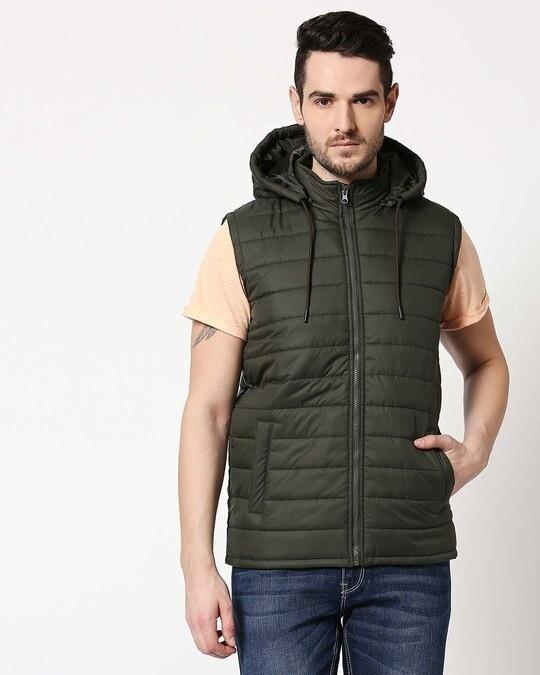 Shop Olive Plain Sleeveless Puffer Jacket with Detachable Hood-Design