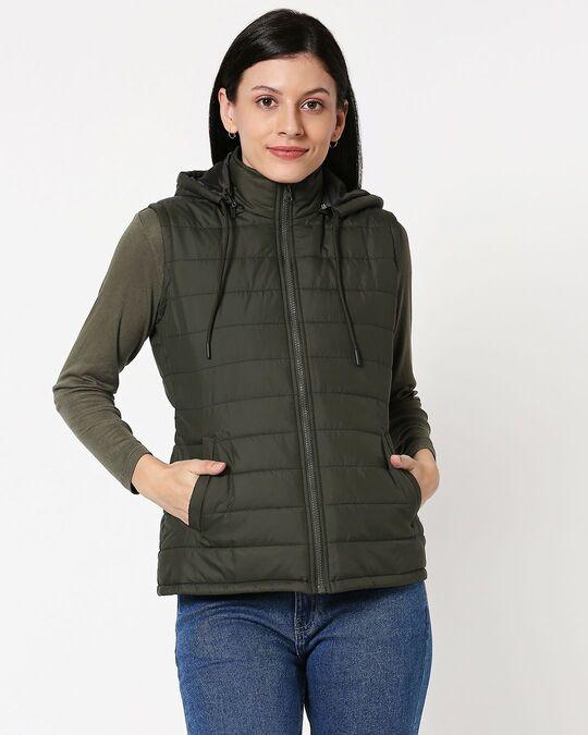 Shop Olive Plain Sleeveless Puffer Jacket With Detachable Hood-Back