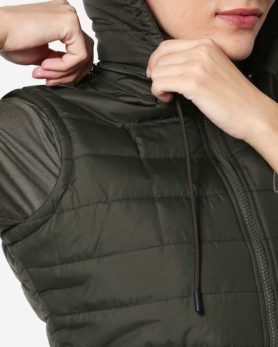Shop Olive Plain Sleeveless Puffer Jacket With Detachable Hood