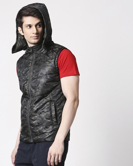 Shop Olive Camo Puffer Jacket-Back