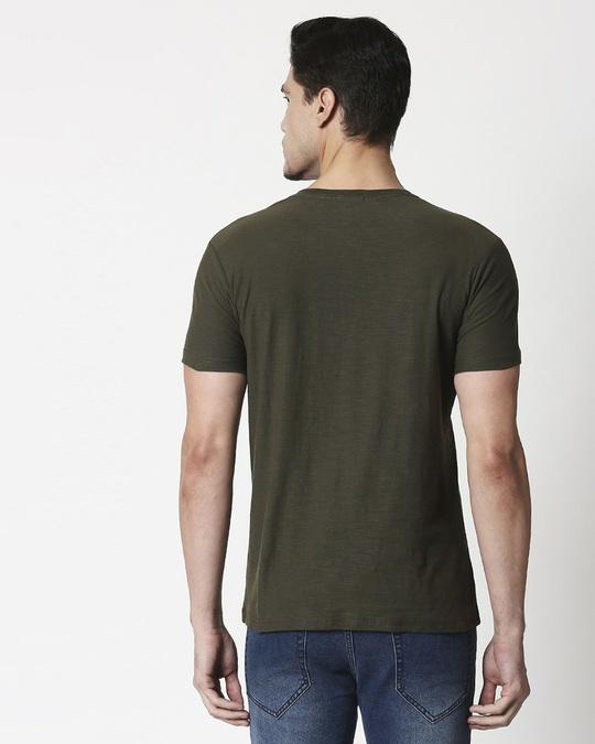 Shop Olive Slub Half Sleeve Henley T-Shirt-Design