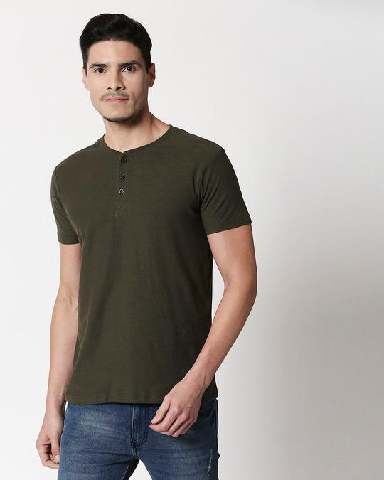 Shop Olive Slub Half Sleeve Henley T-Shirt