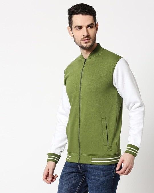 Shop Cedar Green Varsity Bomber Jacket-Design