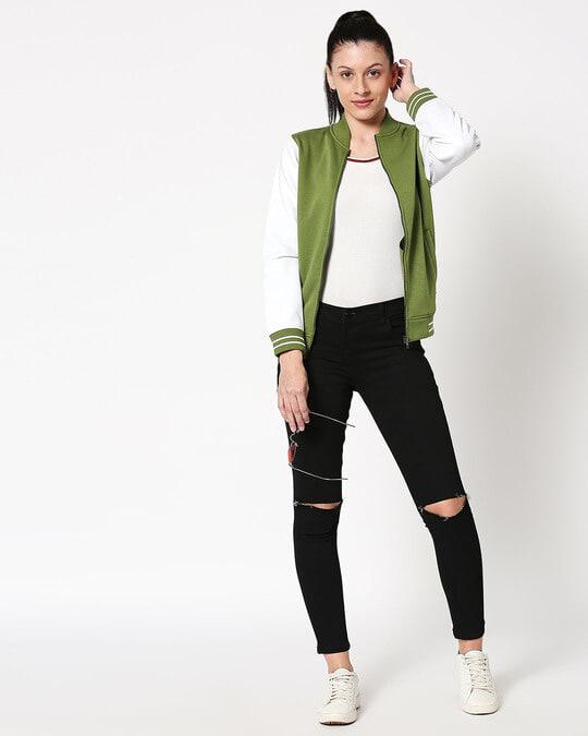 Shop Cedar Green Varsity Bomber Jacket