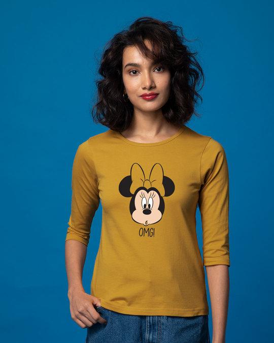 Shop Omg Minnie Round Neck 3/4th Sleeve T-Shirt (DL)-Front