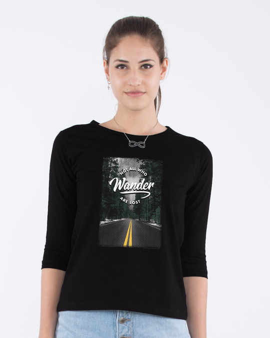 Shop On The Road Round Neck 3/4th Sleeve T-Shirt-Front