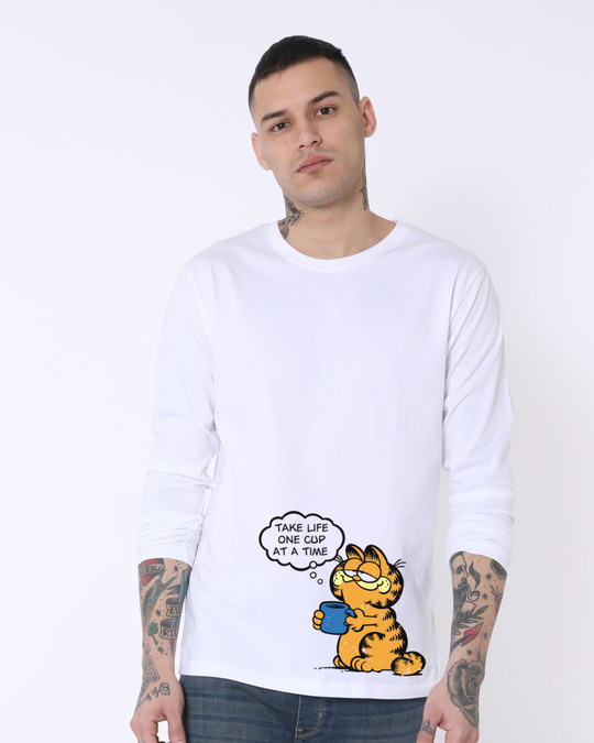 Shop One Cat One Cup Full Sleeve T-Shirt (GL)-Front