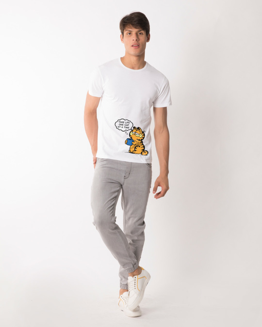 Shop One Cat One Cup Half Sleeve T-Shirt (GL)