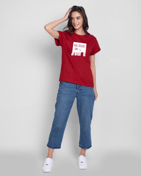 Shop One Chance Boyfriend T-Shirts Bold Red