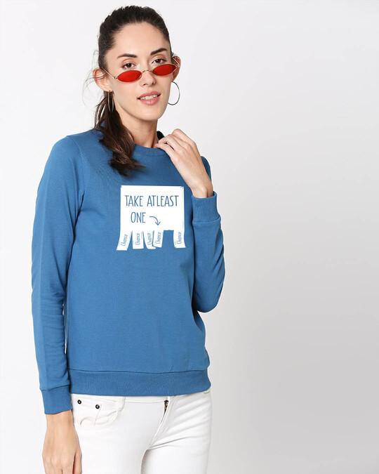 Shop One Chance Fleece Sweater AW19 Digital Teal -Back