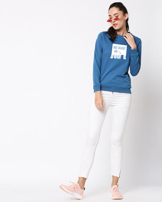 Shop One Chance Fleece Sweater AW19 Digital Teal -Full