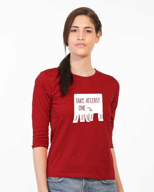 Shop One Chance Round Neck 3/4 Sleeve T-Shirts Bold Red-Back