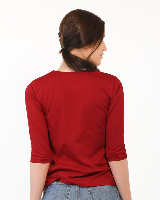 Shop One Chance Round Neck 3/4 Sleeve T-Shirts Bold Red-Full