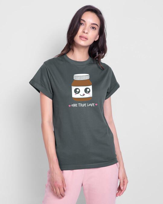 Shop One True Love Boyfriend T-Shirt Nimbus Grey-Front