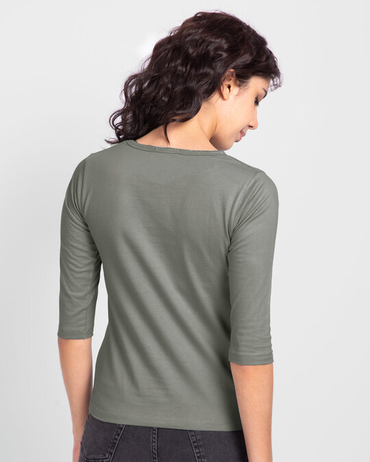 Shop Ooko Bey Round Neck 3/4 Sleeve T-Shirts-Back