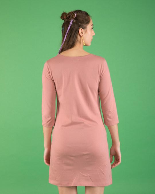 Shop Oops Minne Boat Neck 3/4th Sleeve T-Shirt Dress (DL)-Back