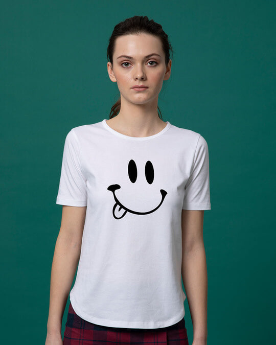 Shop Oops Smiley Basic Round Hem T-Shirt-Front