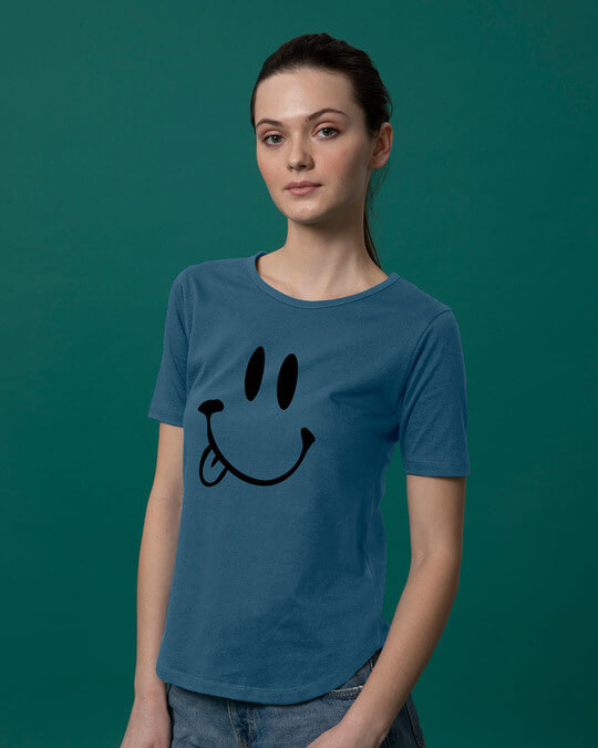 Shop Oops Smiley Basic Round Hem T-Shirt-Back