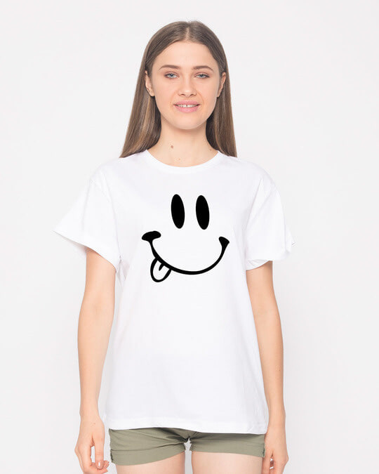 Shop Oops Smiley Boyfriend T-Shirt-Front