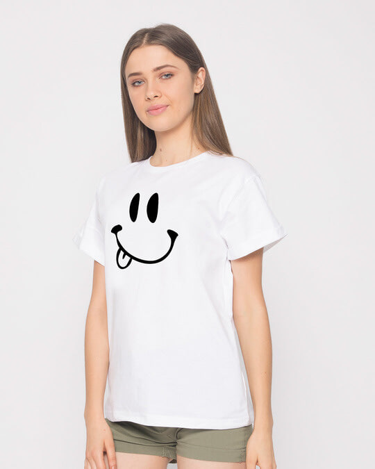 Shop Oops Smiley Boyfriend T-Shirt-Back