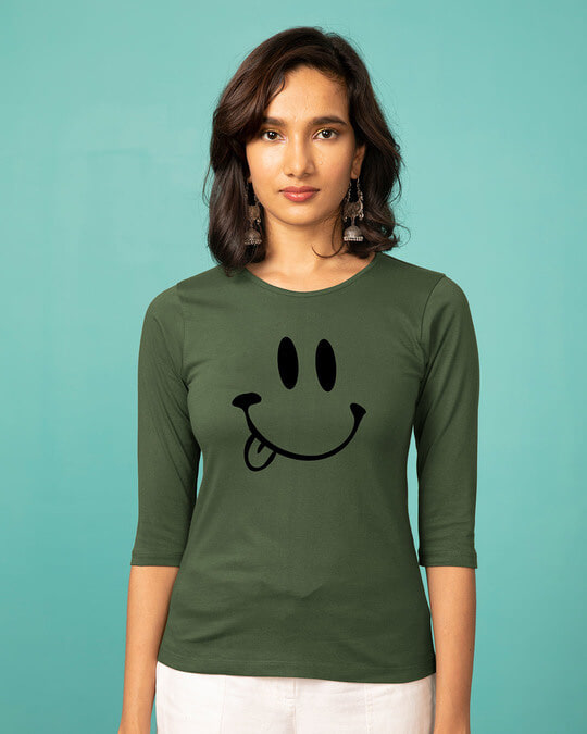 Shop Oops Smiley Round Neck 3/4th Sleeve T-Shirt-Front