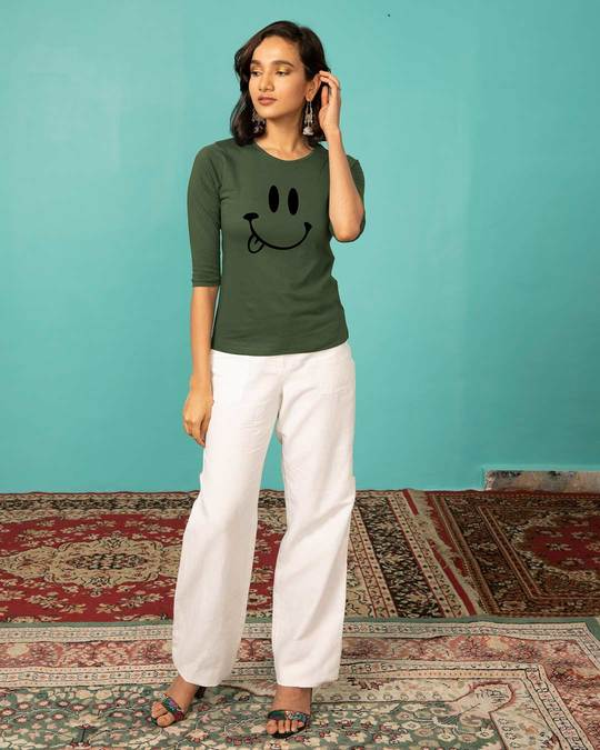 Shop Oops Smiley Round Neck 3/4th Sleeve T-Shirt-Design
