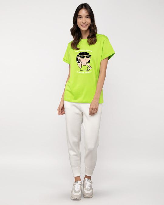 Shop Opinion About Me Boyfriend T-Shirt Neon Green-Full
