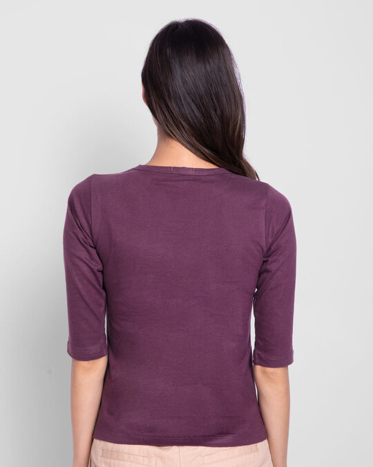 Shop Opinion About Me Round Neck 3/4 Sleeve T-Shirt Deep Purple-Back