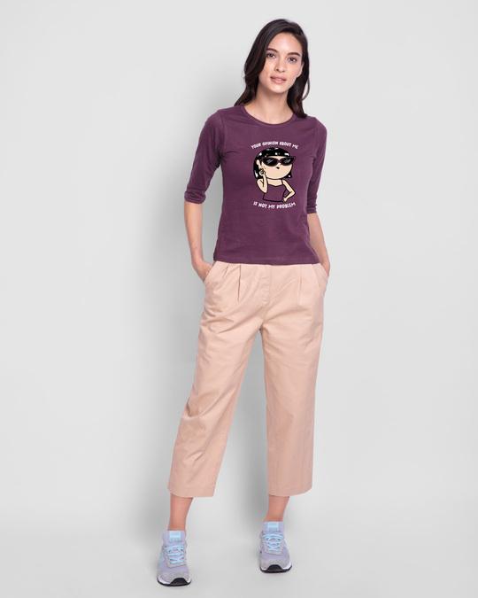 Shop Opinion About Me Round Neck 3/4 Sleeve T-Shirt Deep Purple-Design