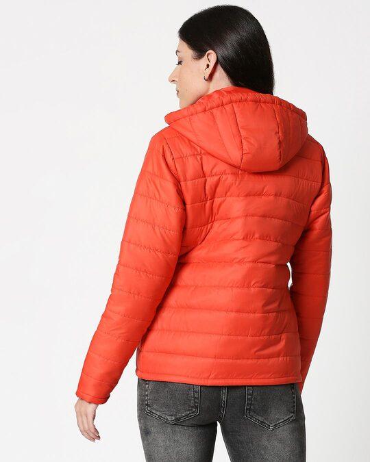 Shop Orange Plain Puffer Jacket with Detachable Hood-Full