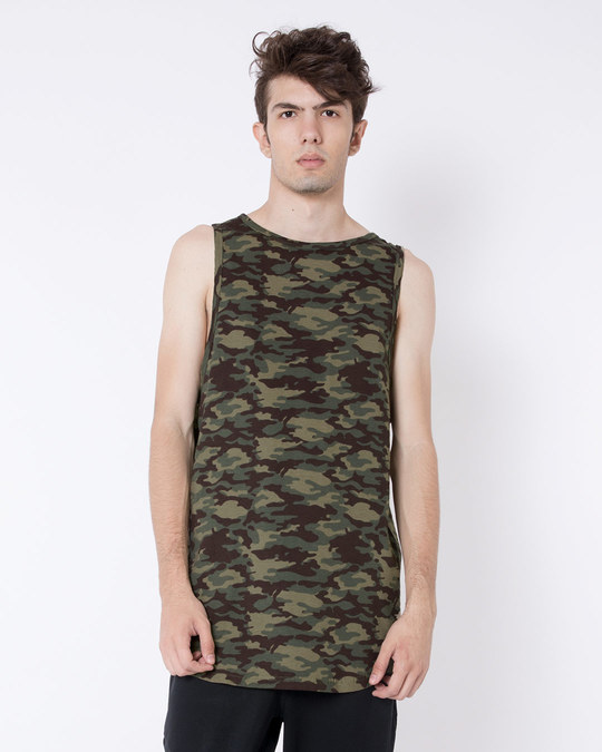 Shop Outdoor Green Camouflag Longline Vest-Front