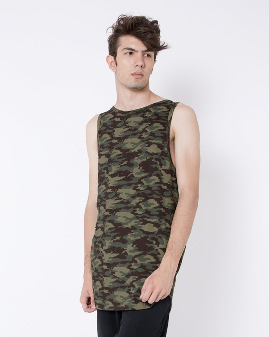 Shop Outdoor Green Camouflag Longline Vest-Back