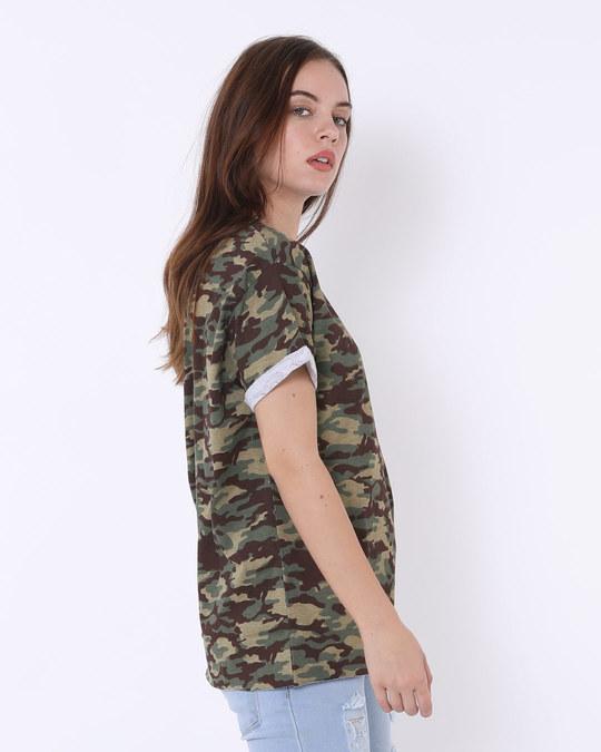 Shop Outdoor Green Camouflage Boyfriend T-Shirt-Back