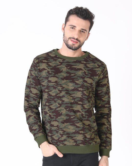 Shop Outdoor Green Camouflage Crew Neck Sweatshirt-Back