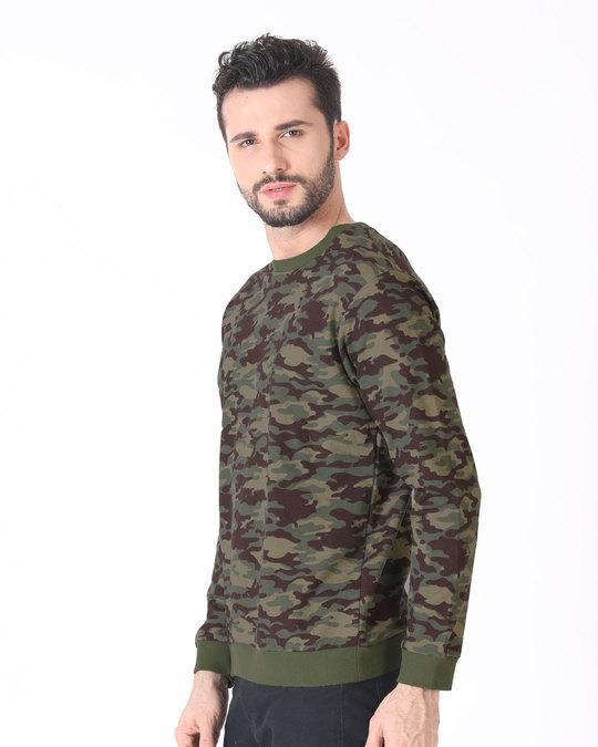 Shop Outdoor Green Camouflage Crew Neck Sweatshirt-Full