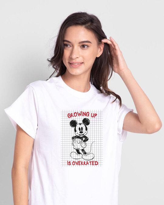 Shop Overrated Boyfriend T-Shirt (DL) White-Front