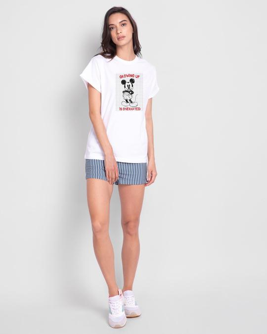 Shop Overrated Boyfriend T-Shirt (DL) White-Full