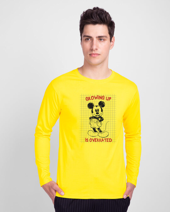 Shop Overrated Full Sleeve T-Shirt (DL) Pineapple Yellow-Front