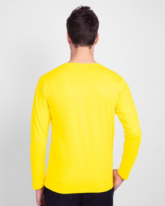 Shop Overrated Full Sleeve T-Shirt (DL) Pineapple Yellow-Back