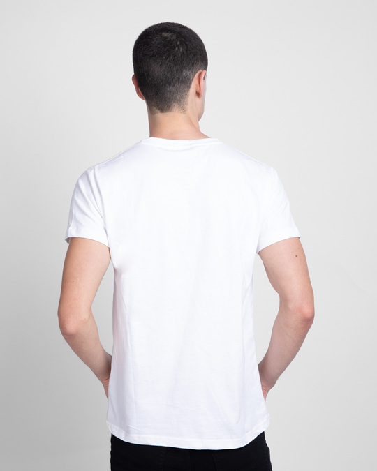 Shop Overrated Half Sleeve T-Shirt (DL) White-Back