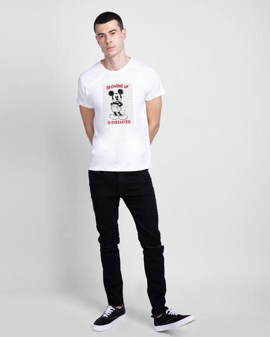 Shop Overrated Half Sleeve T-Shirt (DL) White-Design