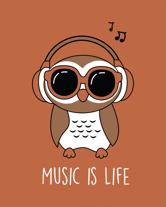 Shop Owl Headphones Half Sleeve T-Shirt