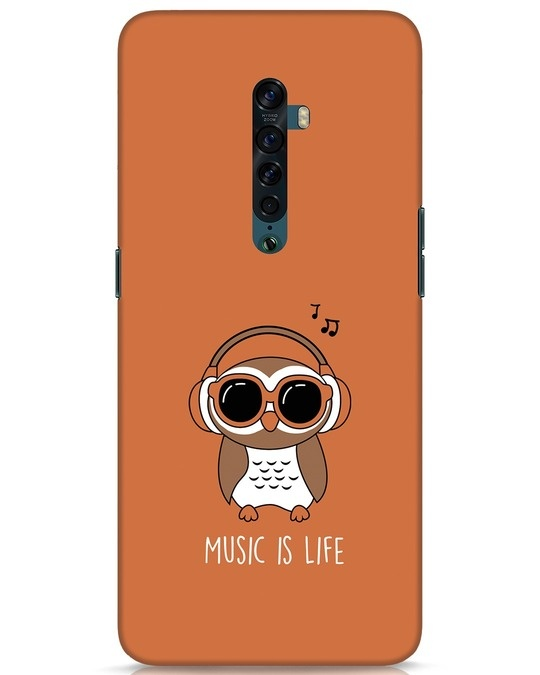 Shop Owl Headphones Oppo Reno 2 Mobile Cover-Front