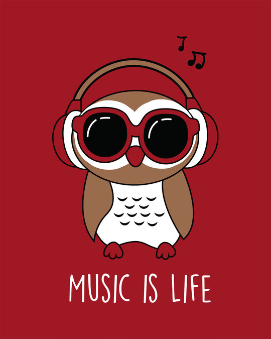 Shop Owl Headphones Round Neck 3/4th Sleeve T-Shirt