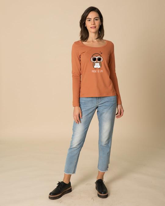 Shop Owl Headphones Scoop Neck Full Sleeve T-Shirt-Full
